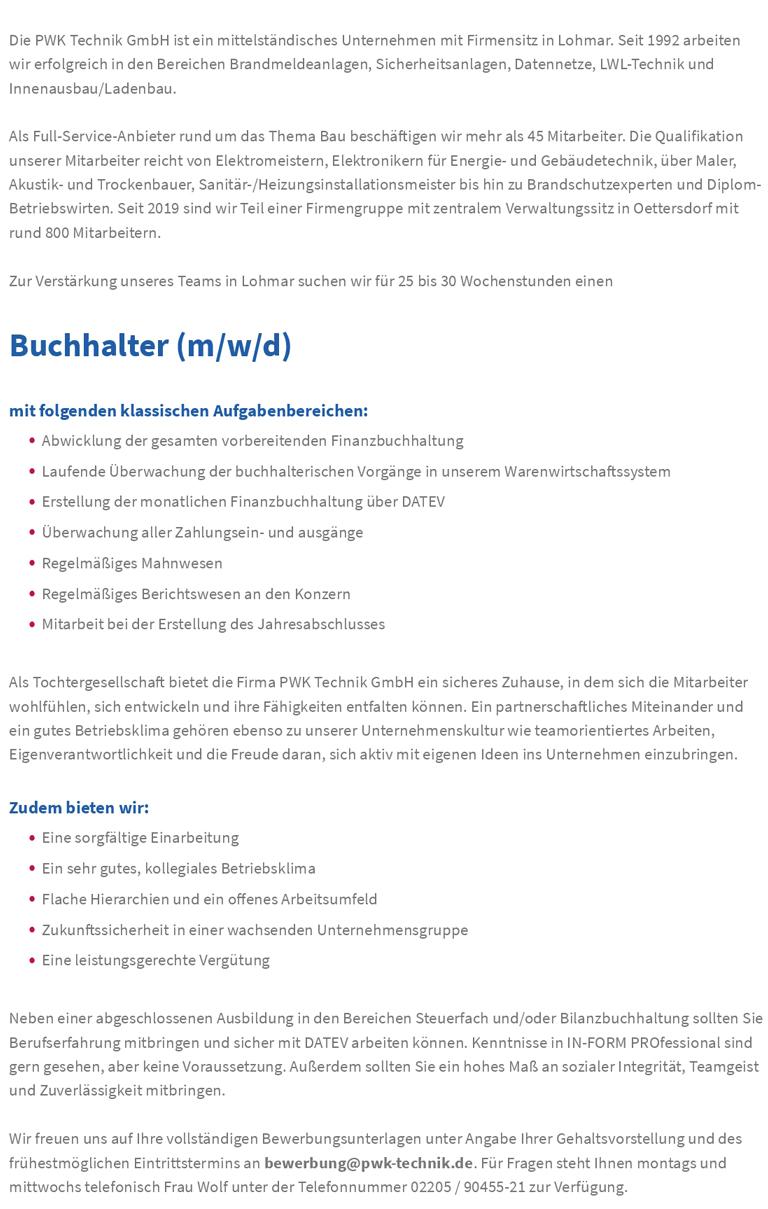 Stellenbeschreibung Buchhalter/in
